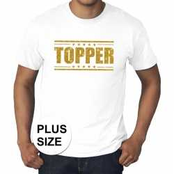 Toppers grote maten topper shirt wit gouden glitters heren