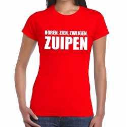 Toppers horen zien zwijgen zuipen tekst t shirt rood dames
