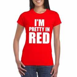 Toppers i'm pretty in red t shirt rood dames