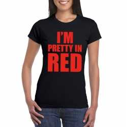 Toppers i'm pretty in red t shirt zwart dames