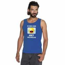 Toppers ik ben hier niet vrijwillig tanktop/ mouwloos shirt blauw her