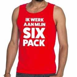 Toppers ik werk aan mijn six pack tekst tanktop / mouwloos shirt rood