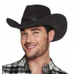 Toppers luxe zwarte cowboyhoed wyoming lederlook volwassenen