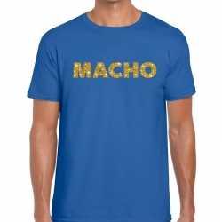 Toppers macho goud glitter tekst t shirt blauw heren