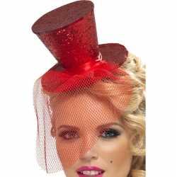Toppers mini rode hoge hoed op diadeem