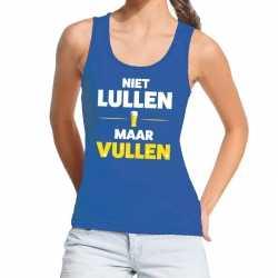 Toppers niet lullen maar vullen tanktop / mouwloos shirt blauw dames
