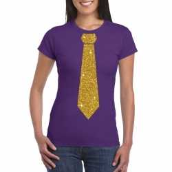 Toppers paars fun t shirt stropdas in glitter goud dames