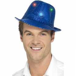 Toppers pailletten hoedje blauw led lichtjes