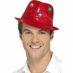 Toppers pailletten hoedje rood led lichtjes