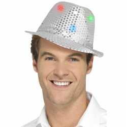 Toppers pailletten hoedje zilver led lichtjes