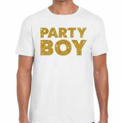 Toppers party boy glitter tekst t shirt wit heren