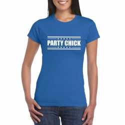 Toppers party chick t shirt blauw dames