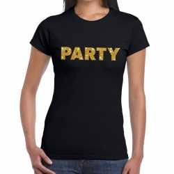 Toppers party goud glitter tekst t shirt zwart dames
