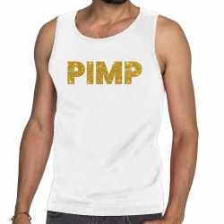 Toppers pimp glitter tanktop / mouwloos shirt wit heren