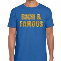 Toppers rich and famous glitter tekst t shirt blauw heren