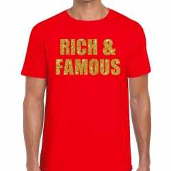 Toppers rich and famous glitter tekst t shirt rood heren