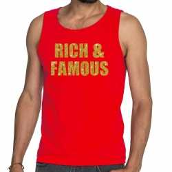 Toppers rich and famous glitter tekst tanktop / mouwloos shirt rood h