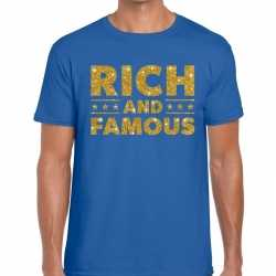 Toppers rich and famous goud glitter tekst t shirt blauw heren