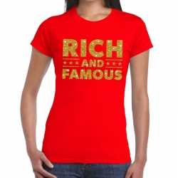 Toppers rich and famous goud glitter tekst t shirt rood dames