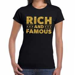 Toppers rich and famous goud glitter tekst t shirt zwart dames