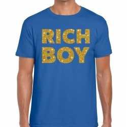 Toppers rich boy goud glitter tekst t shirt blauw heren