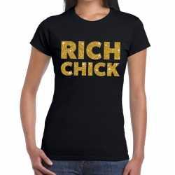 Toppers rich chick goud glitter tekst t shirt zwart dames