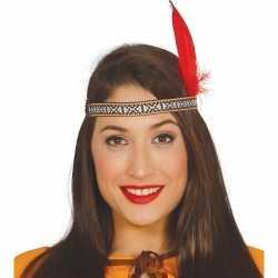Toppers rode indianen veer verkleed accessoire