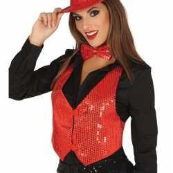 Toppers rode verkleed gilet pailletten dames