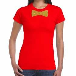 Toppers rood fun t shirt vlinderdas in glitter goud dames