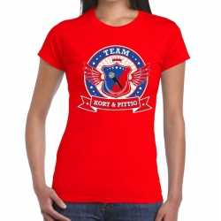 Toppers rood kort pittig team t shirt dames