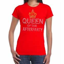 Toppers rood toppers queen of the afterparty glitter t shirt dames