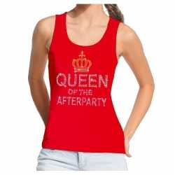 Toppers rood toppers queen of the afterparty glitter tanktop dames