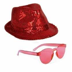 Toppers rood trilby glitter party hoedje rode zonnebril