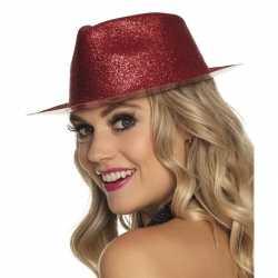 Toppers rood trilby hoedje glitters dames