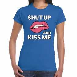 Toppers shut up and kiss me t shirt blauw dames