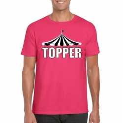Toppers t shirt roze topper witte letters heren
