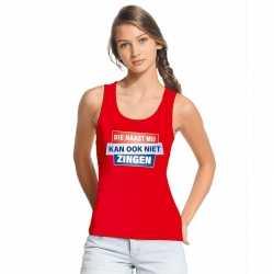Toppers tanktop / mouwloos kan ook niet zingen shirt rood dames