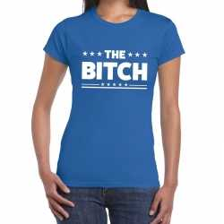 Toppers the bitch fun tekst t shirt blauw dames