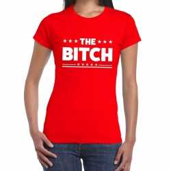 Toppers the bitch fun tekst t shirt rood dames