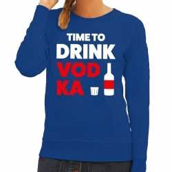 Toppers time to drink vodka tekst sweater blauw dames