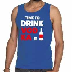 Toppers time to drink vodka tekst tanktop / mouwloos shirt blauw