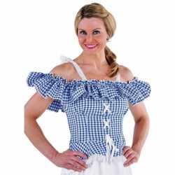 Toppers tiroler blouse carmen blauw geruit