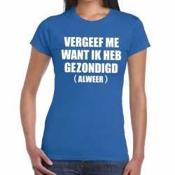 Toppers vergeef me tekst t shirt blauw dames