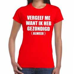 Toppers vergeef me tekst t shirt rood dames