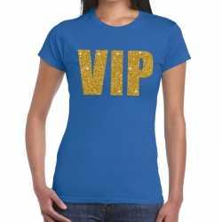 Toppers vip glitter goud tekst t shirt blauw dames