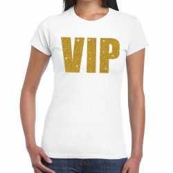 Toppers vip goud glitter tekst t shirt wit dames