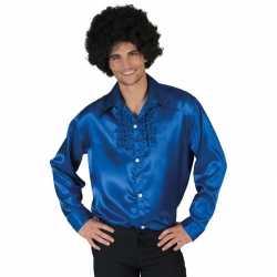 Toppers voordelige blauwe rouche blouse heren