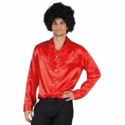Toppers voordelige rode rouche blouse heren