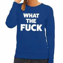 Toppers what the fuck tekst sweater blauw dames