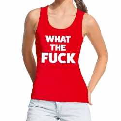 Toppers what the fuck tekst tanktop / mouwloos shirt rood dames